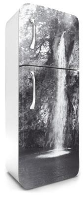 samolepicí fototapeta na lednici vodopád - černobílé šedé provedení