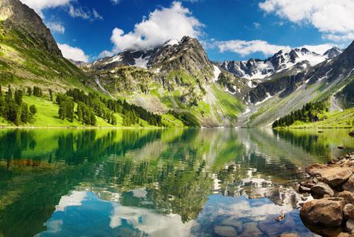 vliesová fototapeta na zeď jezero - efekt zrcadlení