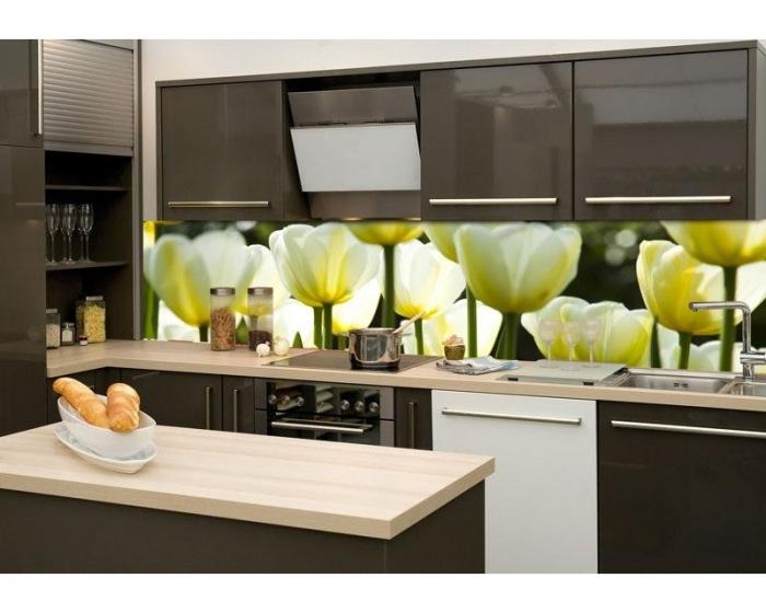 Sklen u011bná st u011bna za kuchy u0148skou linku Fotosklo Bílé tulipány popis dimex tapety cz