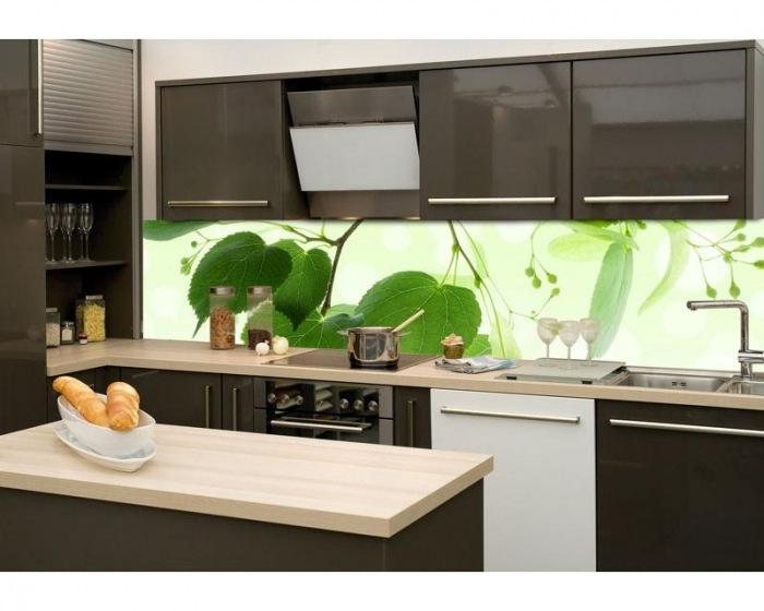 sklen n st na za kuchy skou linku fotosklo zelen listy. Black Bedroom Furniture Sets. Home Design Ideas
