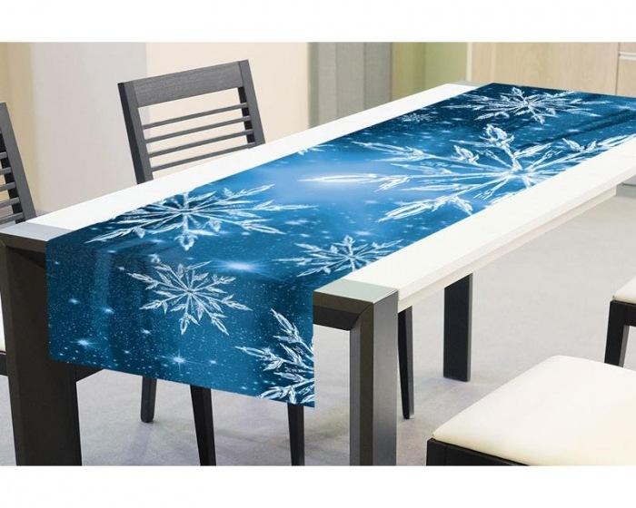 TS V04 Zimní ubrusy - Zimní běhoun na stůl MODRÉ SNĚHOVÉ VLOČKY 40 x 140 cm 014885d5dc